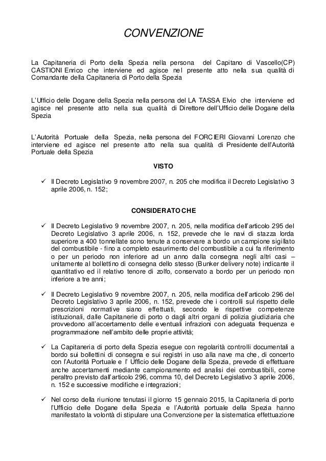 CONVENZIONE La Capitaneria di Porto della Spezia nella persona del Capitano di Vascello(CP) CASTIONI Enrico che interviene...