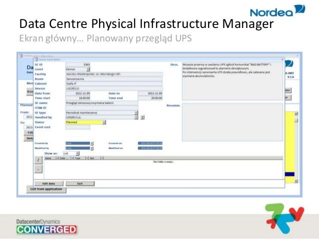 Data Centre Physical Infrastructure Manager Ekran główny… Planowany przegląd UPS