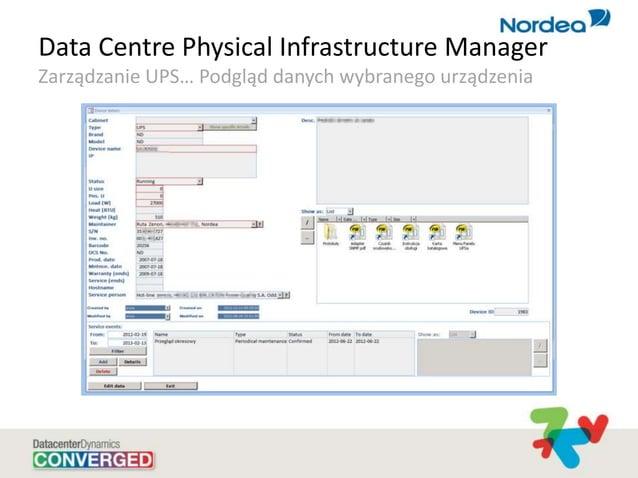 Data Centre Physical Infrastructure Manager Zarządzanie UPS… Podgląd danych wybranego urządzenia