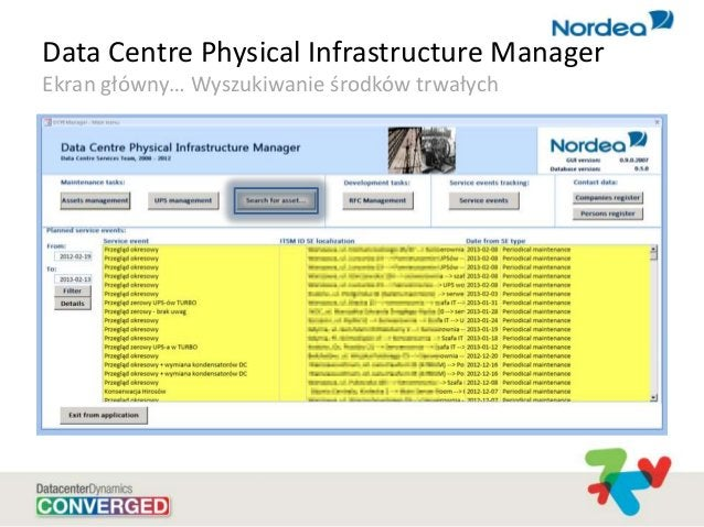 Data Centre Physical Infrastructure Manager Ekran główny… Wyszukiwanie środków trwałych