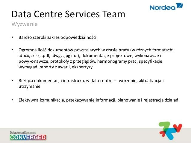 Data Centre Services Team Wyzwania • Bardzo szeroki zakres odpowiedzialności • Ogromna ilośd dokumentów powstających w cza...