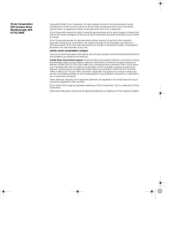 3Com Corporation   Copyright © 2006, 3Com Corporation. All rights reserved. No part of this documentation may be350 Campus...