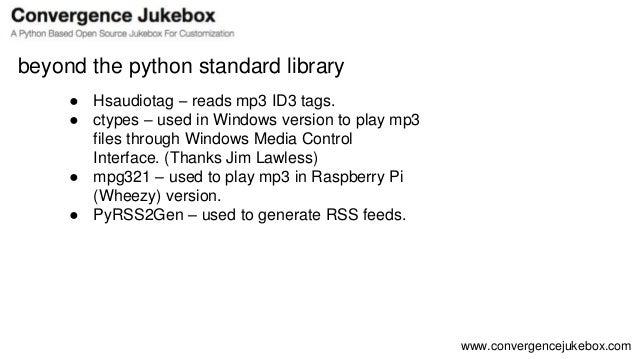 Convergence Jukebox Overview Python Toronto Meetup May 2016