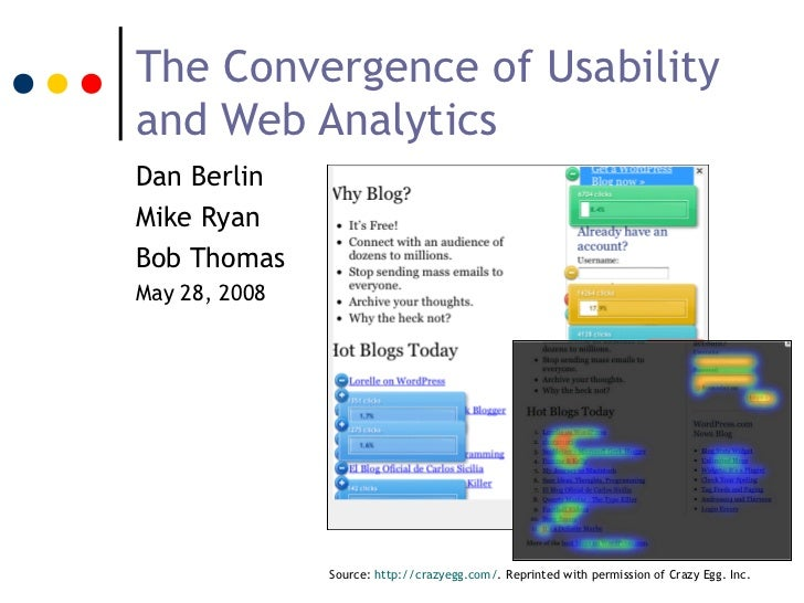 The Convergence of Usabilityand Web AnalyticsDan BerlinMike RyanBob ThomasMay 28, 2008               Source: http://crazye...