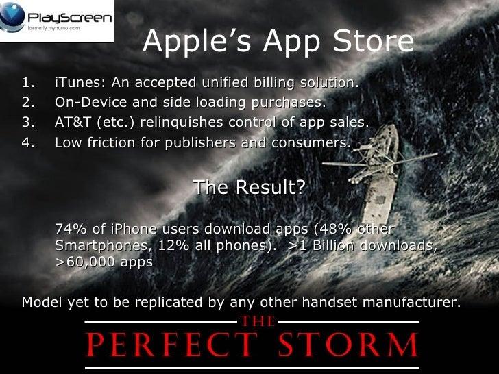 Apple's App Store <ul><li>iTunes: An accepted unified billing solution. </li></ul><ul><li>On-Device and side loading purch...