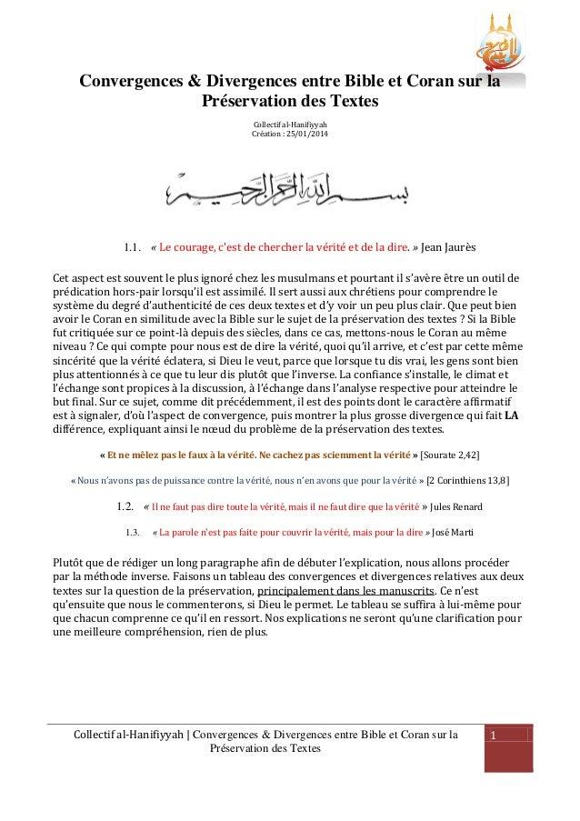 Convergences & Divergences entre Bible et Coran sur la Préservation des Textes Collectif al-Hanifiyyah Création : 25/01/20...