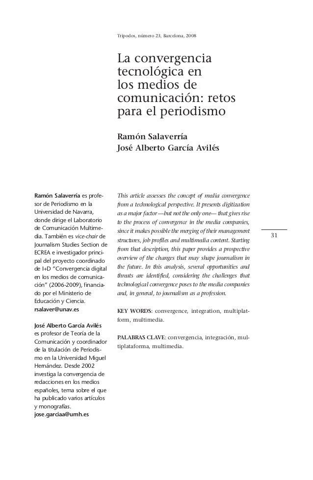 Trípodos, número 23, Barcelona, 2008                                La convergencia                                tecnoló...