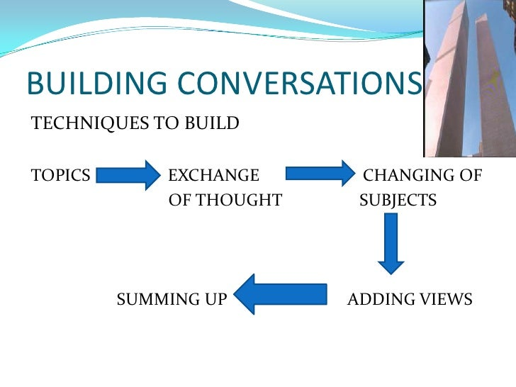 BUILDING CONVERSATIONS<br />TECHNIQUES TO BUILD<br />TOPICS                  EXCHANGE                        CHANGING OF<b...
