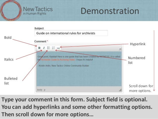 Demonstration Guide on international rules for archivists  Bold Hyperlink  Italics  Bulleted list  Numbered list  Scroll d...