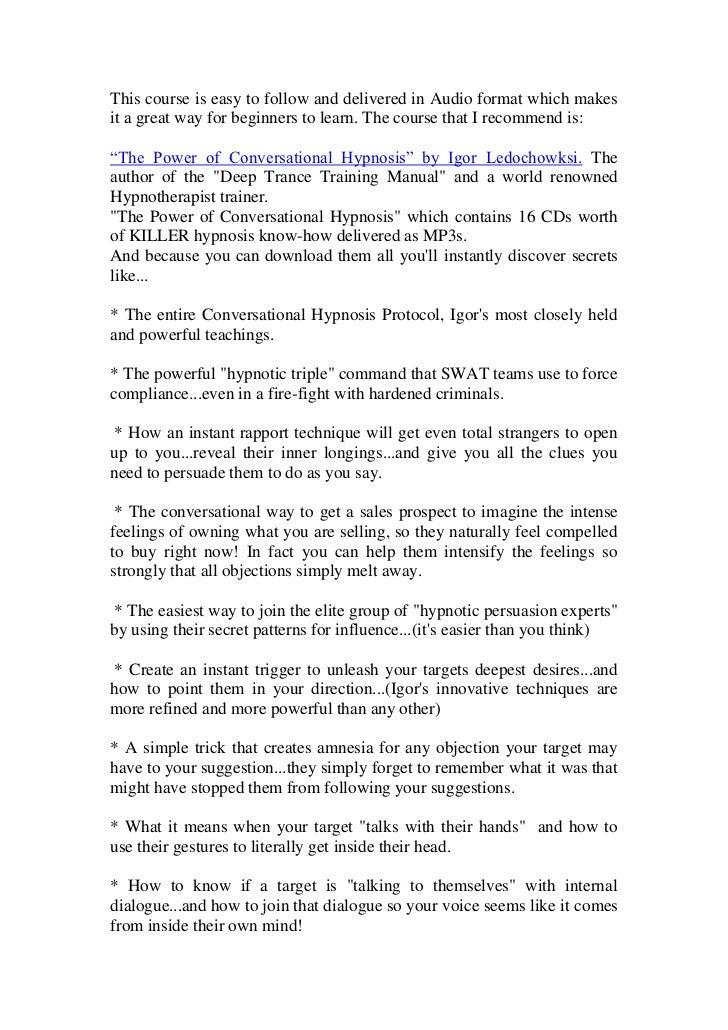 Conversational Hypnosis A Manual Of Indirect Suggestion Pdf Crisecoast