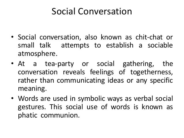 Friendly conversation examples