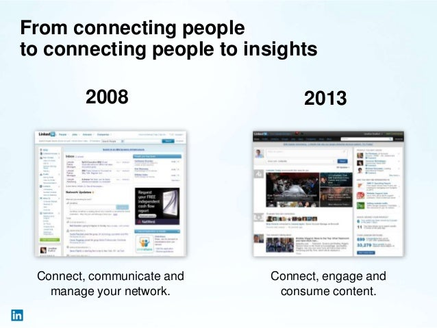 From connecting people to connecting people to insights 2008 2013 Connect, communicate and manage your network. Connect, e...