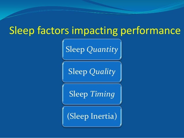Sleep factors impacting performance Sleep Quantity Sleep Quality Sleep Timing (Sleep Inertia)