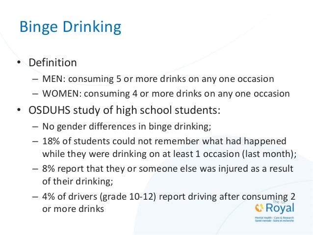 Binge Drinking • Definition – MEN: consuming 5 or more drinks on any one occasion – WOMEN: consuming 4 or more drinks on a...
