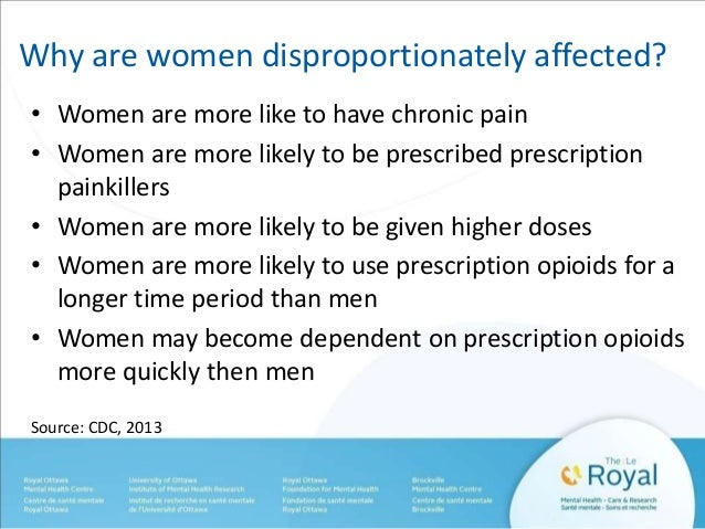 Why are women disproportionately affected?  • Women are more like to have chronic pain  • Women are more likely to be pres...
