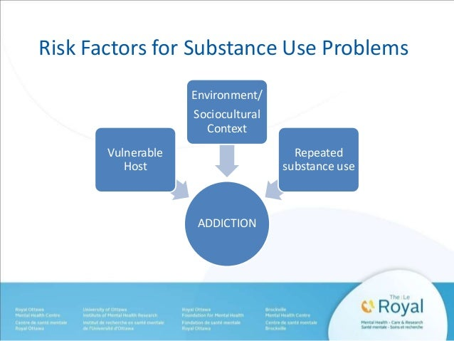Risk Factors for Substance Use Problems  ADDICTION  Vulnerable  Host  Environment/  Sociocultural  Context  Repeated  subs...