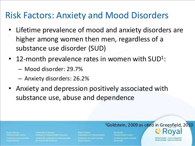 Risk Factors: Anxiety and Mood Disorders  • Lifetime prevalence of mood and anxiety disorders are  higher among women then...