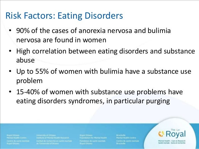 Risk Factors: Eating Disorders  • 90% of the cases of anorexia nervosa and bulimia  nervosa are found in women  • High cor...
