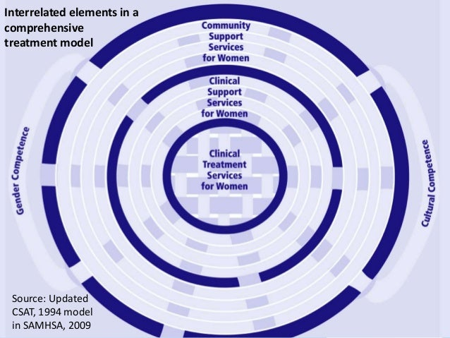 Interrelated elements in a  comprehensive  treatment model  Source: Updated  CSAT, 1994 model  in SAMHSA, 2009