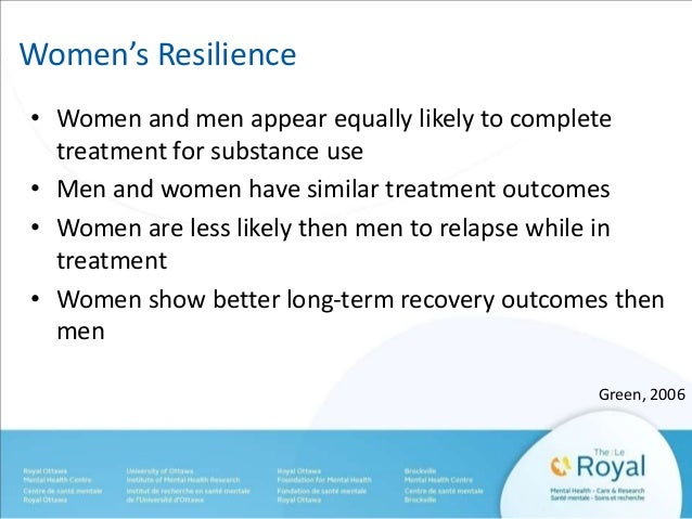 Women's Resilience  • Women and men appear equally likely to complete  treatment for substance use  • Men and women have s...