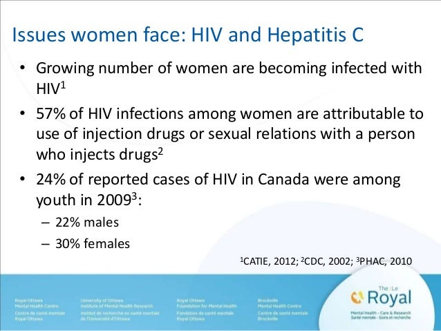 Issues women face: HIV and Hepatitis C  • Growing number of women are becoming infected with  HIV1  • 57% of HIV infection...
