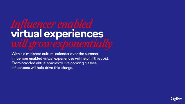 Influencerenabled virtualexperiences willgrowexponentially With a diminished cultural calendar over the summer, influencer...