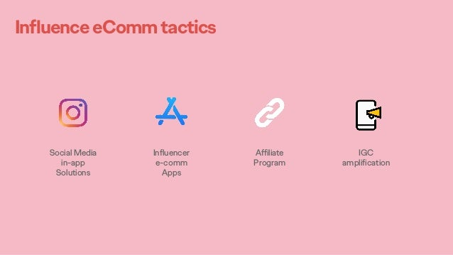 InfluenceeCommtactics Social Media in-app Solutions Influencer e-comm Apps Affiliate Program IGC amplification