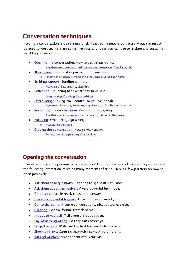 Things to say to start a conversation