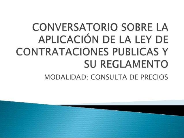 MODALIDAD: CONSULTA DE PRECIOS