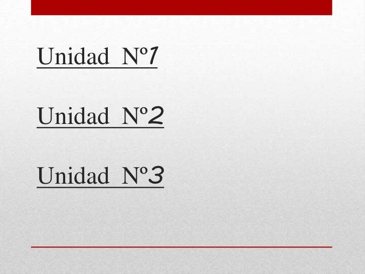 Unidad Nº1Unidad Nº2Unidad Nº3