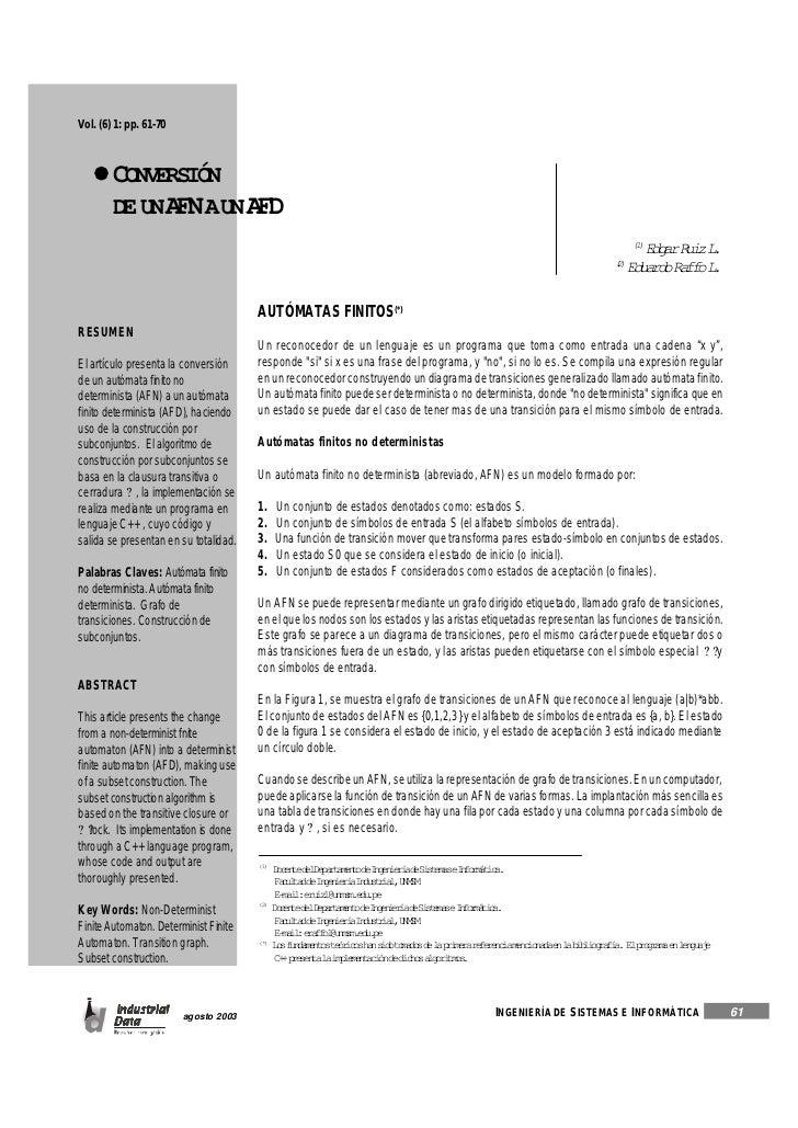 Vol. (6) 1: pp. 61-70        CONVERSIÓN        DE UNA N AUN A D              F       F                                    ...