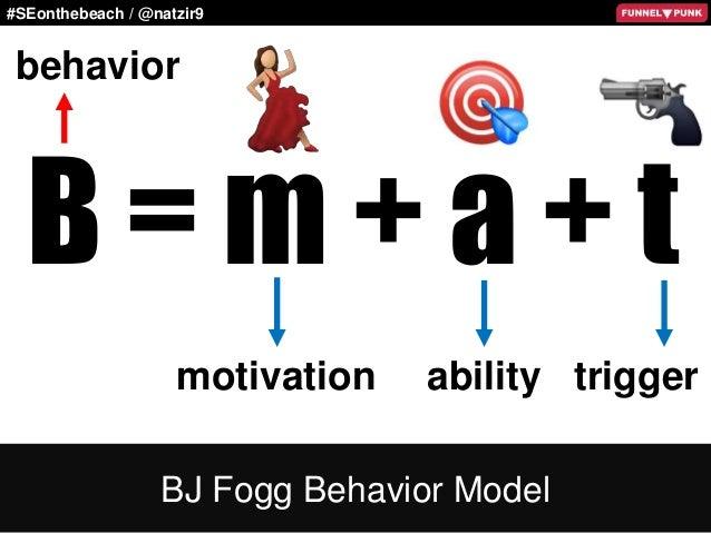 #SEonthebeach / @natzir9 B = m + a + t BJ Fogg Behavior Model behavior motivation ability trigger