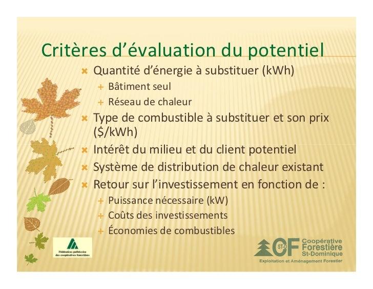 Critères d'évaluation du potentiel      Quantité d'énergie à substituer (kWh)        Bâtiment seul        Réseau de chaleu...