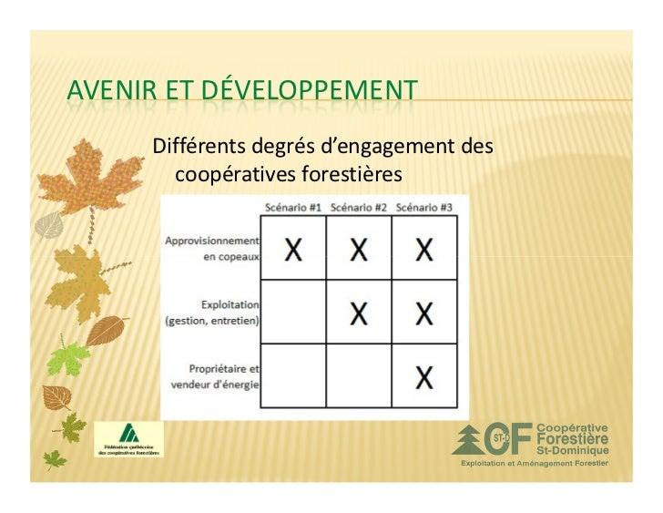 AVENIR ET DÉVELOPPEMENT     Différents degrés d'engagement des       coopératives forestières