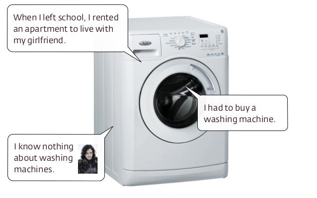 I had to buy a washing machine. When I left school, I rented an apartment to live with my girlfriend. I know nothing