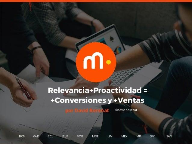 1BCN MAD SCL MDE LIM MEXBOG MIA SFOBUE Relevancia+Proactividad = +Conversiones y +Ventas por David Boronat SAN @davidboron...