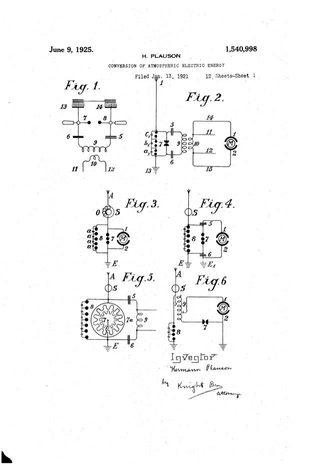 June 9, 1925. 1,540,998 . H. PLAusoN _ - CONVERSION OF ATMOSPHERIC ELECTRIC ENERGY 'Filed J' . 13, 1921 i 12L Sheets-Sheet...