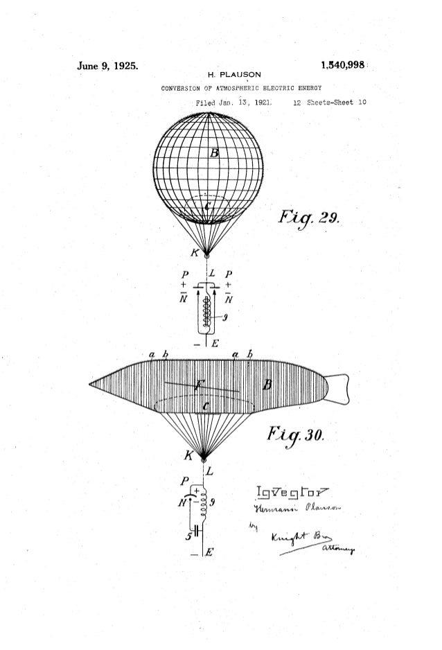 June '9, 1925. ' 1,540,993; _ H. PLAUSON CONVERSION OF ATMOSPHERIC ELECTRIC} ENERGY :Filed Jan. 1921; 12 Sheets-Sheet 1o 1...