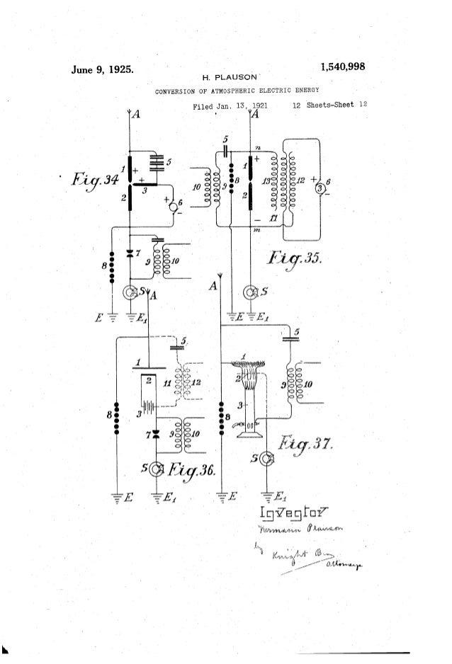 "June 9, 1925. 1,540,998 H PLAUSON CONVERSION OF'ATMOSPHE'R'IC ELECTRIC ENERGY E ""351 .v:. Foouoolllilr:8E L . / [MAW"