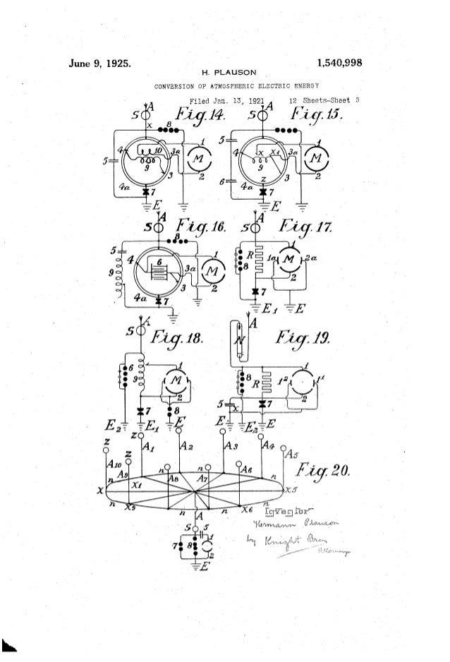June 9, 1925. ' 1,540,998 , H. PLAUSON CONVERSION OF' ATMOSPHERIC ELECTRIC ENERGY Filed Jan. 13, 1921/1v 12 Sheets-Sheet 5