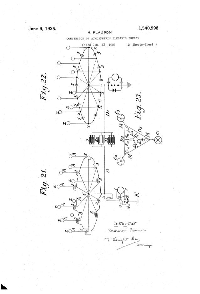 1,540,998June 9, 1925. H. PLAUSON _ CONVERSION OF' ATMOSPHERIC ELECTRIC ENERGY FiledlJan, 15, 1921 12 Sheets-Sheet 4