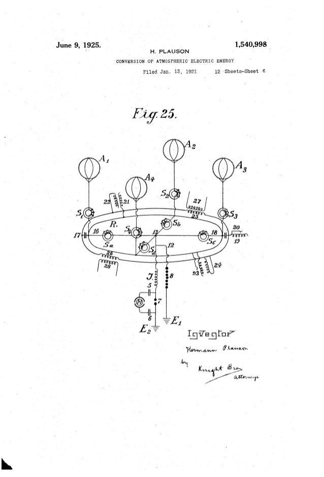 "June 9, 10925. ' v H. PLAUSON CONVERSION .OF ATMOSPHERIC"" ELECTRIC ENERGY Filed Jan. 13, 1921 12' Sheets-Sheet e F1925. _ ..."
