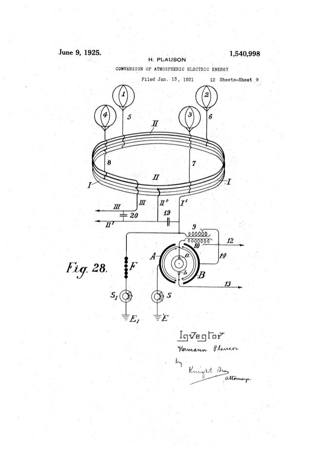 ' 1,540,998June 9, 1925. ~ ' H. PtAUSON . CONVERSION OF ATMOSPHERIC ELECTRIC ENERGY ' _ I' Filed Jan, 15, 1921 12 Sheets-S...