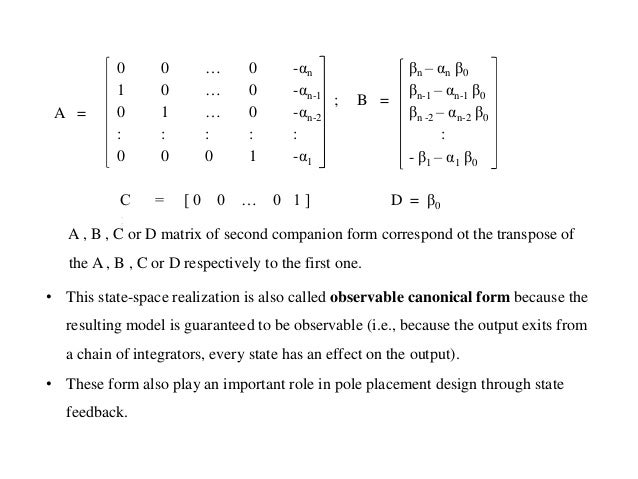 Conversion of transfer function to canonical state variable models
