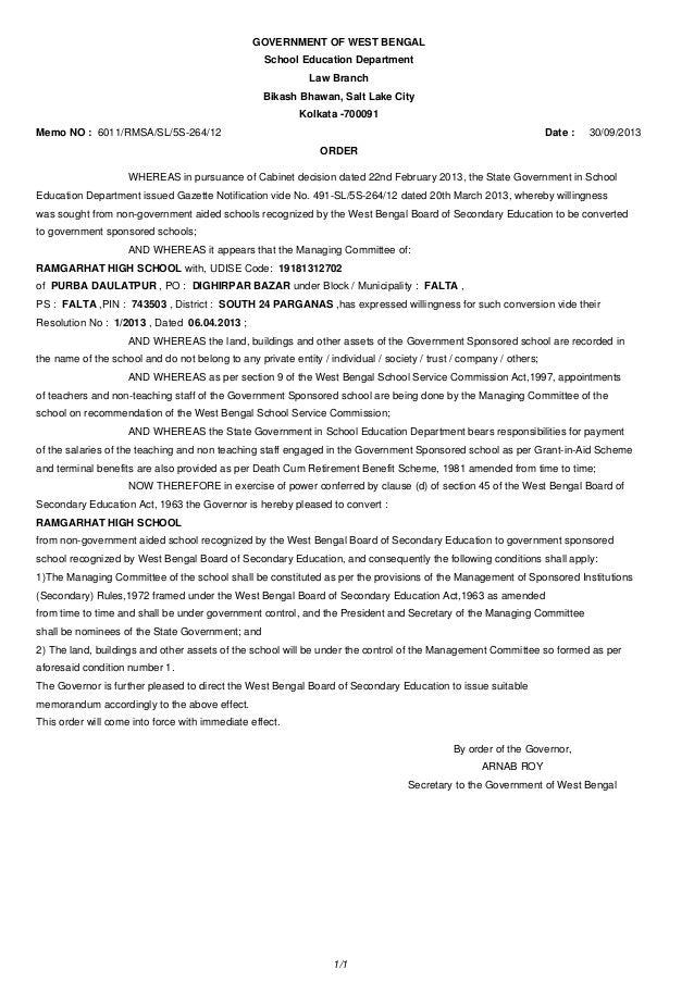 GOVERNMENT OF WEST BENGAL School Education Department Law Branch Bikash Bhawan, Salt Lake City Kolkata -700091 Memo NO : 6...