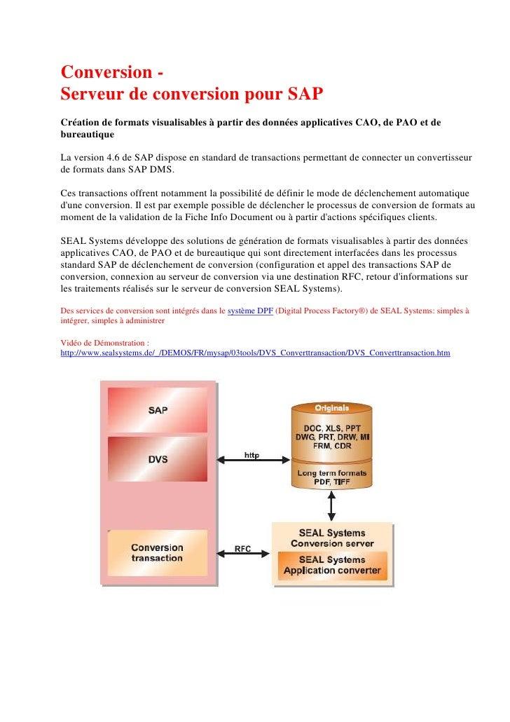 Conversion - Serveur de conversion pour SAP Création de formats visualisables à partir des données applicatives CAO, de PA...