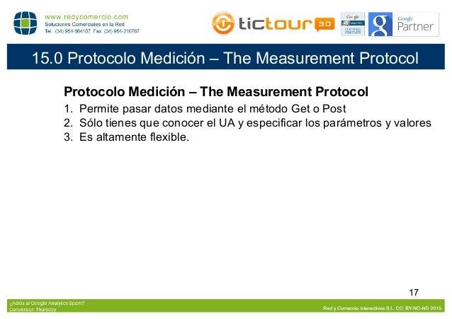 18 16.0 Protocolo Medición – Ejemplos Ejemplos ● Referencia Natural: enlace desde otra web. ● Spam en la Referencia: llama...