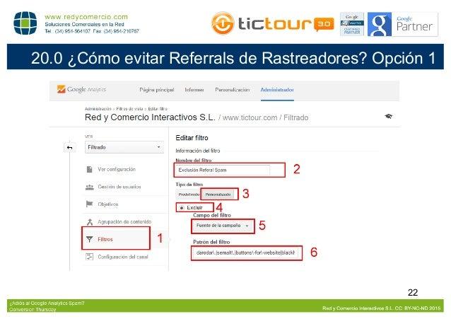 23 21.0 ¿Cómo evitar Referrals de Rastreadores? Opción 2 Algunos Referrals Spam como Selmat or buttons-for-website rastrea...