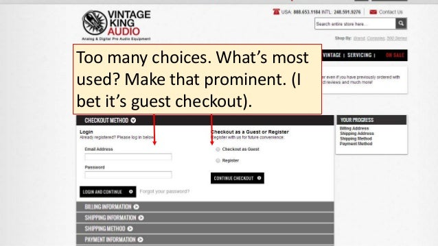 Too many choices. What's most used? Make that prominent. (I bet it's guest checkout).