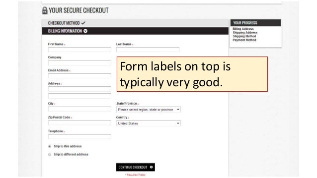 Form labels on top is typically very good.